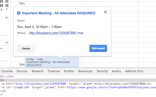 Google Calendar Clickable Links in Popups