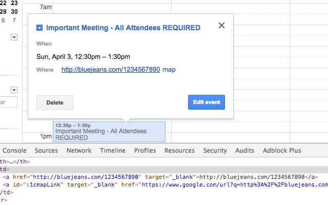 Google Calendar Clickable Links in Popups