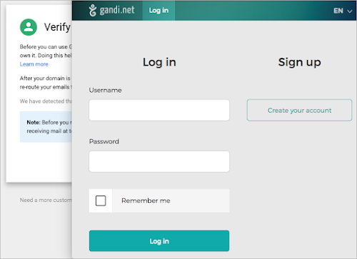 Gandi.net Login window