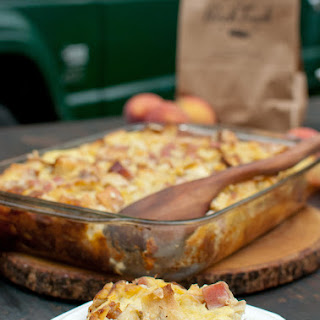 Ham & Gruyere Strata with Fresh Peaches