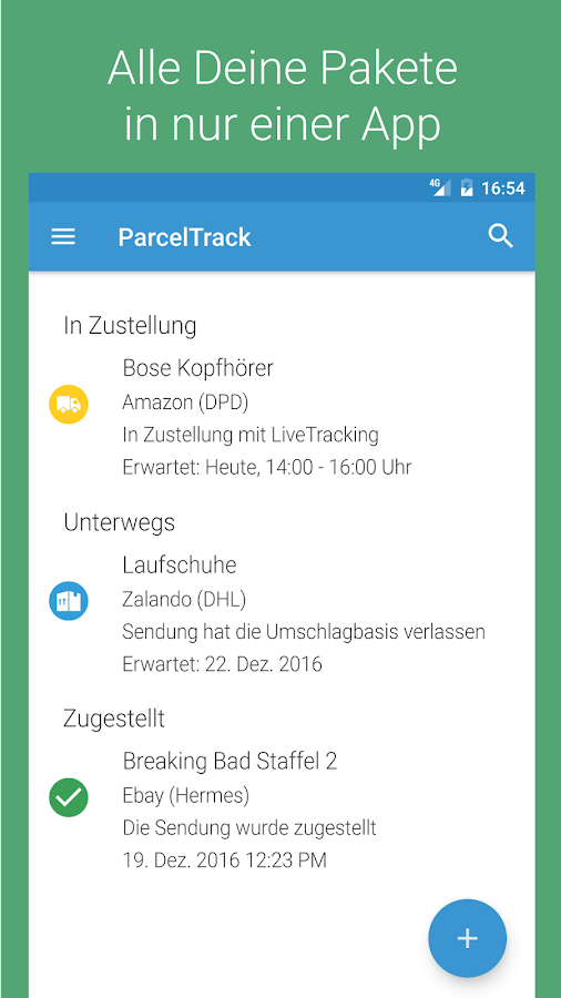 parceltrack sendungsverfolgung f r dhl ups co android apps auf google play. Black Bedroom Furniture Sets. Home Design Ideas