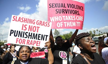 Kenyan protesters march towards police headquarters in Nairobi on 31 October 2013 to deliver a petition demanding justice, after men accused of gang-raping a schoolgirl had to cut grass as punishment/ COURTESY