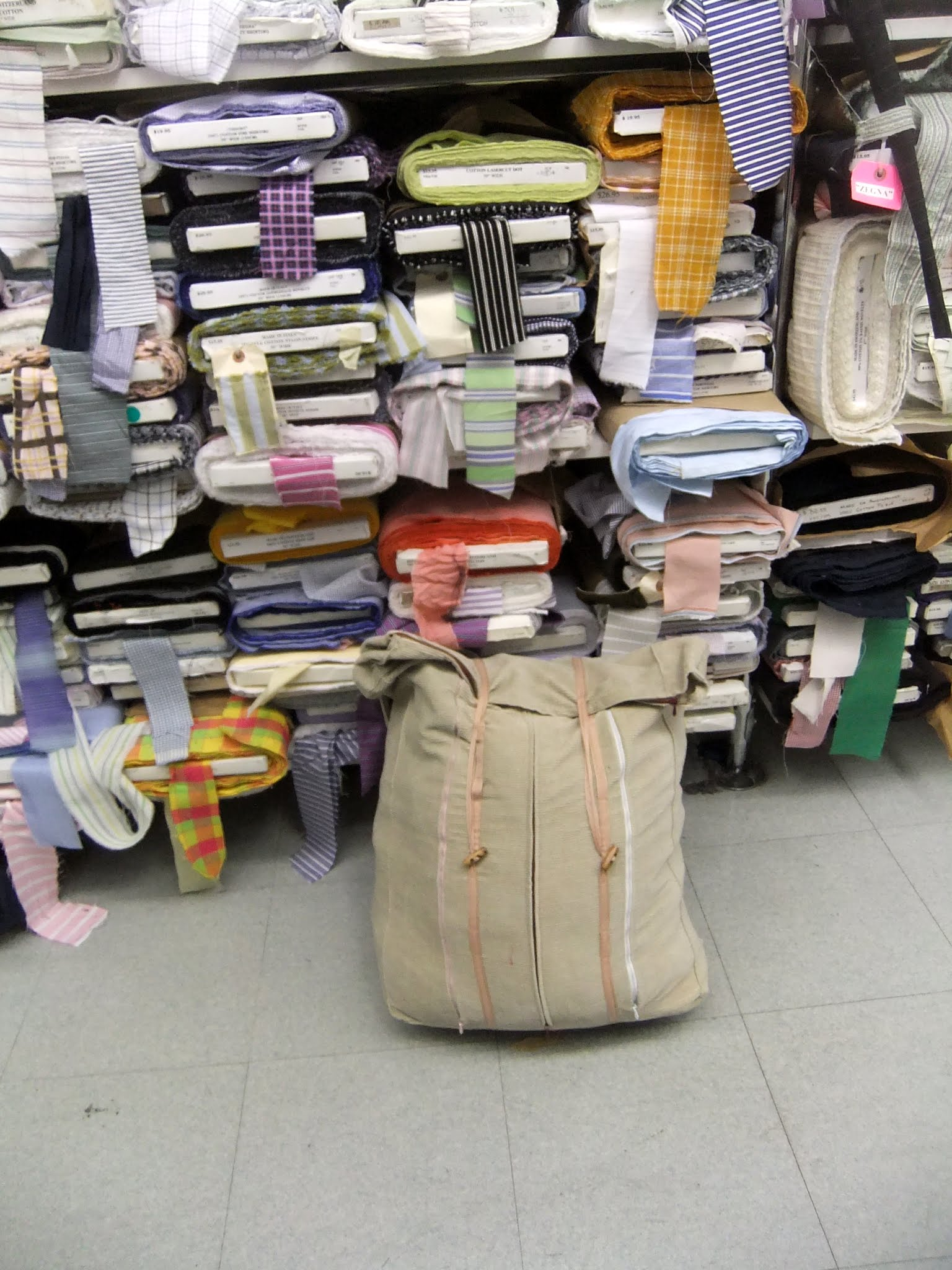 Photo: B&J Fabrics and my fabric shopping bag