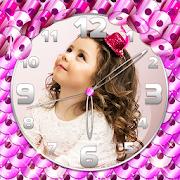 Sequin Glitter Photo Clock Wallpaper