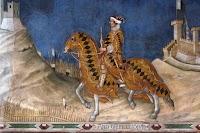 Simone Martini,Guidoriccio da Fogliano all'assedio di Montemassi (particolat-re del condottiere), 1328-30, Sala del Mappamondo, Palazzo Pubblico, Siena