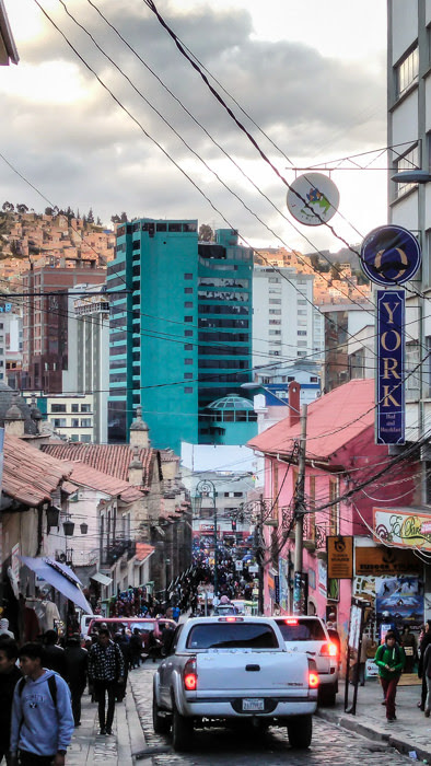 a crowded street in La Paz