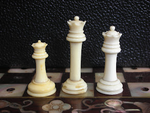 Photo: Comparison of pieces in three Cantonese ivory travel sets  Queens  The basic shapes/relative heights of the Kings are carried over to the Queens