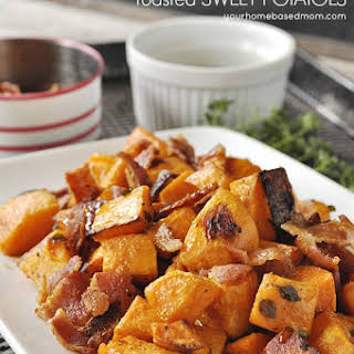 Maple Syrup & Bacon Roasted Sweet Potatoes.