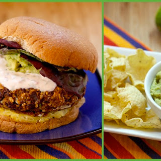 Mexican Black Bean & Quinoa Burgers with Homemade Guacamole.