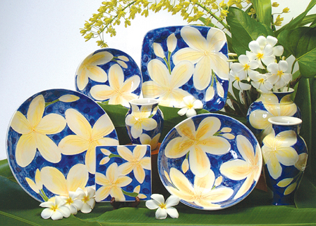 Blue plumeria pottery made here on Kauai. Photo: Banana Patch Studio.