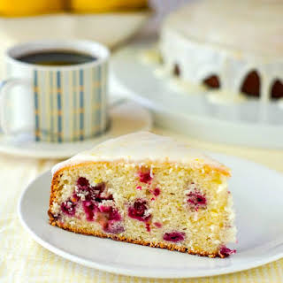 Lemon Sour Cream Coffee Cake with Partridgeberries.