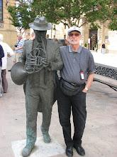 Photo: Steve makes a new friend in Hora, center of the La Rioja wine region.