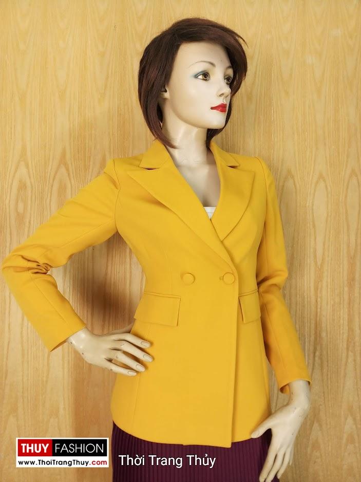 Áo vest nữ công sở màu vàng cháy V658 thời trang thủy 2