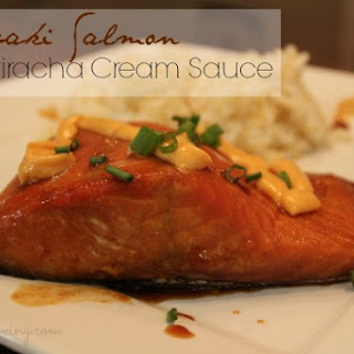 Teriyaki Salmon Recipe with Sriracha Cream Sauce