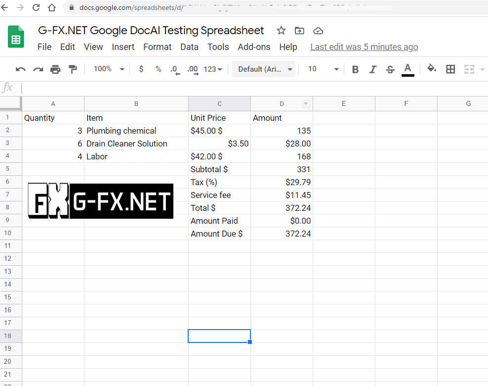 Data extracted from DocAI and Pasted Into Spreadsheet