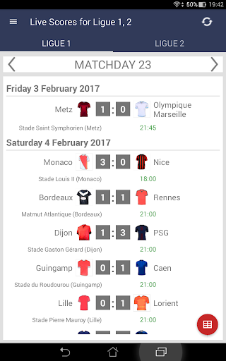 Live Scores for Ligue 1 Conforama 2017/2018 for PC