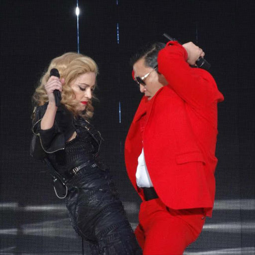 Madonna and Psy on stage