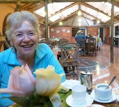 Photo: Sheila at breakfast, Papallacta restaurant