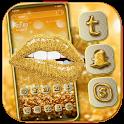 Gold Glitter Lips Launcher Theme icon