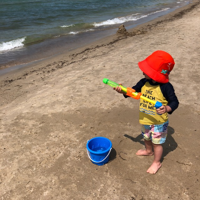 Water guns at the beach.