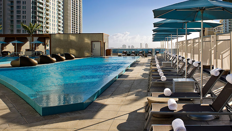 The pool at Miami's classy EPIC Hotel.