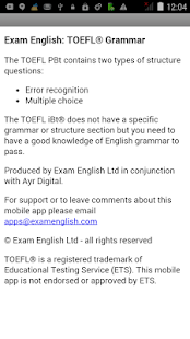 Exam English: TOEFL® Grammar- screenshot thumbnail