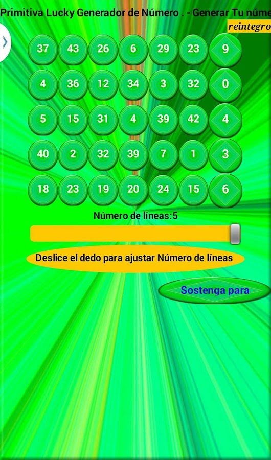 La Primitiva Number Generator- screenshot
