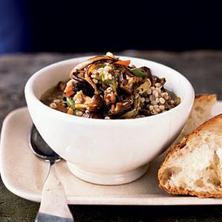 Spicy Sausage, Barley, and Mushroom Stew