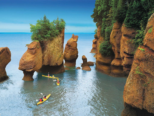 Hopewell Rocks, the most striking rock formation in New Brunswick, during high tide.