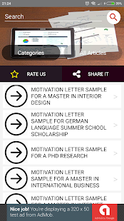 Motivation Letter Examples Capture d'écran