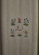 Photo: Medieval Counted Cross Stitch Flowers and Unicorn on Hardanger cloth