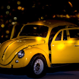 Little Yellow Bug II by Anthony Zaremba - Artistic Objects Toys ( colour, lights, macro, color, transport, cars, toys, yellow, cute, beetle )