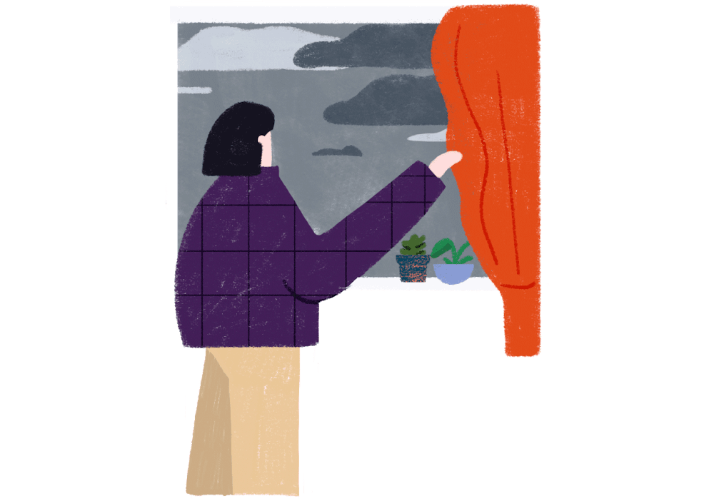 A woman peers out of a window, trying to gauge an ominous gray sky outside, in order to predict the weather forecast.