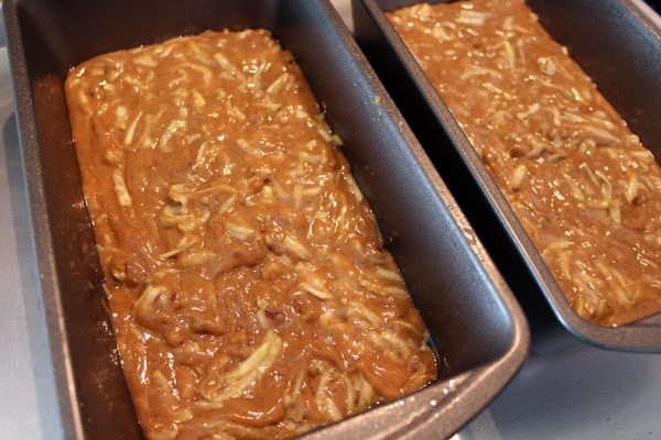 Batter poured into two loaf pans.