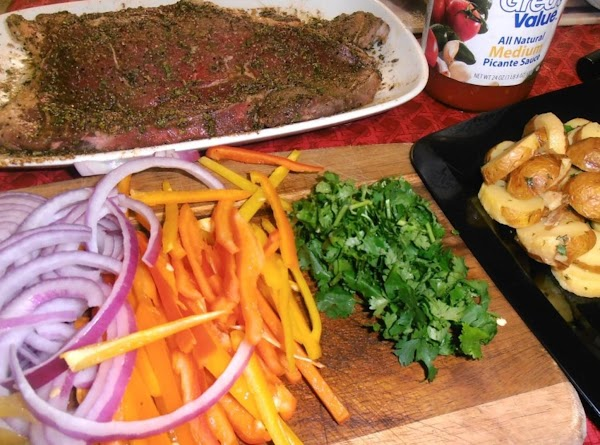 gather ingredients.  marinate steak with ingredients 2-6 and 3 Tsbp of olive oil...