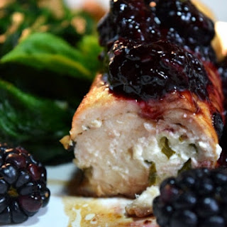 Goat Cheese Stuffed Chicken Breasts with Blackberries & Balsamic