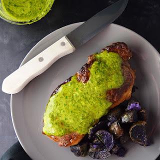 Pan-Seared Sirloin Steak with Chimichurri Sauce