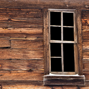 Weathered  And Wood by Reva Fuhrman - Buildings & Architecture Decaying & Abandoned ( old wooden window vintage window pane winter,  )