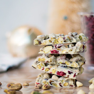 Cranberry & Pistachio White Chocolate Bark