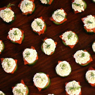 Persian Cucumber Bites with Lox + Dill Cream Cheese.