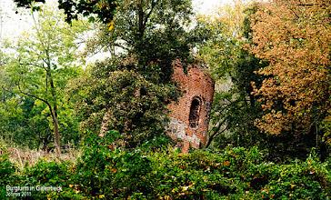 Photo: mittelalterlicher, schiefer Turm (13. Jahrhundert) an der ehemaligen Staatsgrenze zwischen Brandenburg und Mecklenburg