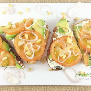 Open Faced Avocado Sandwich With Ricotta Spread