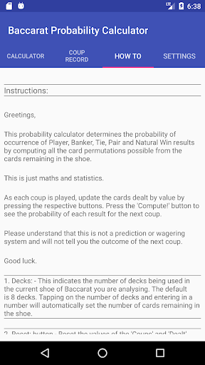 Baccarat Probability Calculator (Full) 36 screenshots 3