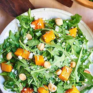 Roasted Squash Arugula Salad with Lemon Vinaigrette