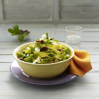 Sage Tagliatelle with Greens Beans and Goat Cheese