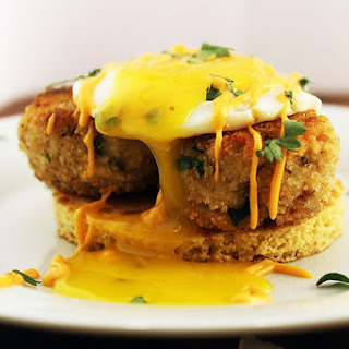 Crabcake with Over Easy Egg and Cornmeal Pancake