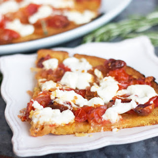 Farinata with Oven Roasted Tomatoes, Onions, and Goat Cheese Recipe