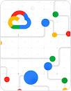 带有 Google Cloud 徽标的白色背景图形 - 包含灰色线条、蓝色、绿色、红色、黄色圆点