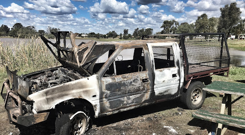This stolen vehicle was found burned out at Narrabri Lake.