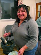 Photo: Sofia making paste